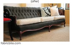 couch painted using Glidden flat black paint and Ceramcoat textile medium.