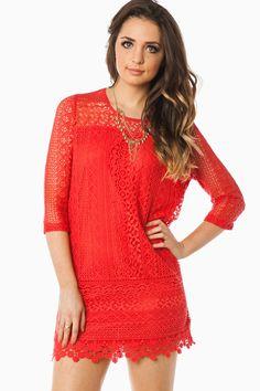 ShopSosie Style : Hailee Dress in Coral