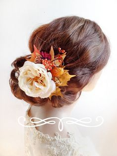 fall hair clip autumn wedding headpiece burnt by thehoneycomb