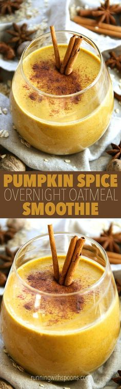 "Pumpkin Spice Overnight Oatmeal Smoothie -- smooth, creamy, and sure to keep you satisfied for hours! This delicious ""I can't believe it's healthy"" smoothie is a great way to satisfy those pumpkin spice latte cravings without all the added sugar 