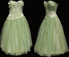 Vintage strapless green taffeta dress with tulle skirt. Taffeta Dress, Tulle Gown, Strapless Dress, Vintage Prom, Vintage Dresses, 1950s Prom, Evening Dresses, Prom Dresses, Green Dress