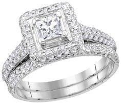 14kt W.G. Round & Princess Diamond Bridal Ring Set 1.25ct