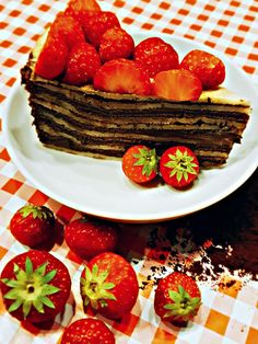 Pancake Cake with Chocolate and Strawberries