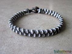 Neutral Bracelet, Mens Bracelet, Cord Bracelet, Surfer Bracelet, Thick Bracelet, Hemp Bracelet, Gift for Him, Boyfriend Bracelet