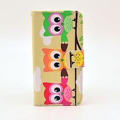 kleurrijke uiltjes Iphone 5c Cases, Iphone 4, Cheap Iphone 5, Money Holders, Owl Patterns, Full Body, Pu Leather, Card Holder, Samsung Galaxy