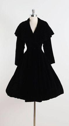 Vintage 1950s Black Silk Velvet Lilli Ann Princess Coat