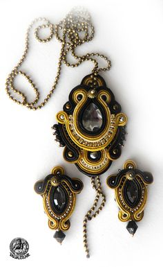 Soutache  set in Gold and Black by caricatalia.deviantart.com on @deviantART