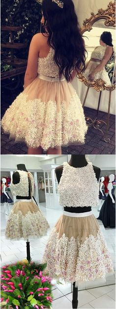 Two Piece Jewel Appliques Pearls Short Champagne Homecoming Dress Dama Dresses, Grad Dresses, Dress Outfits, Cool Outfits, Short Dresses, Fashion Dresses, Champagne Homecoming Dresses, Prom, Beautiful Evening Gowns