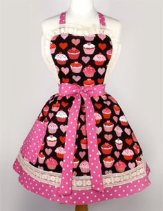 Cupcakes and Hearts Two Tier Apron by Hemet