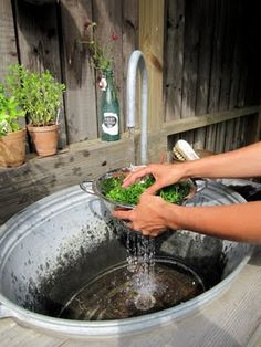 Outdoor vessel sink--hook up to a hose and drain into a 5-gallon bucket for watering, etc.  I think I would use a spray nozzle instead of the faucet, so we could rinse feet, too.