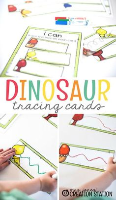 Dinosaur tracing cards are fun for your students! When your preschooler is first coloring, they scribble and go way out of the lines. These dinosaur tracing cards are wonderful to help with that. They help to teach your preschooler how to follow a line and get better control of their pencils and crayons. Come grab the free printable and get your students started today. #cards #freeprintable #preschool #writing #tracingcards #dinosaurtheme #homeschool Dinosaur Activities, Toddler Learning Activities, Writing Activities, Preschool Activities, Preschool Writing, Preschool Dinosaur, Dinosaur Cards, Writing Resources, Motor Activities
