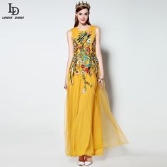 High Quality New 2016 Fashion Runway Yellow Maxi Dress Women's Sleeveless Flowers Embroidery Formal Party Long Dress
