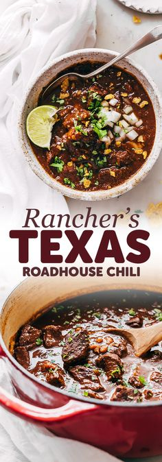 Rancher's Texas Chili (Chili con Carne) - Learn how to make texas chili or chili con carne! This is an easy recipe that uses chuck roast rather that ground beef and is so hearty and filling! recipes with ground beef Chilli Recipes, Top Recipes, Mexican Food Recipes, Beef Recipes, Cooking Recipes, Chuck Roast Recipes, Texas Chilli Recipe, Meatless Recipes, Cooking Kale