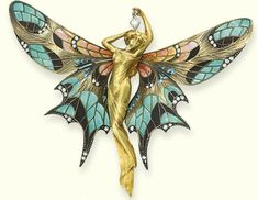 René Lalique, French, 1860 - 1945 Dragonfly woman corsage ornament,   1897 - 1898 gold, enamel, chrysoprase, moonstones, and  diamonds, 2...