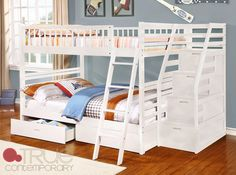 Fraser II White Full over Full Bunk Bed with Storage Drawers and Stairway Chest | FREE Shipping at GoWFB.ca - Fraser II White Full over Full Bunk Bed with Stairway Chest and Storage Drawers