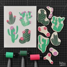 Had fun carving these flowering cacti by inkprintrepeat Stamp Printing, Printing On Fabric, Screen Printing, Stencil, Cactus, Eraser Stamp, Stamp Carving, Handmade Stamps, Linoprint