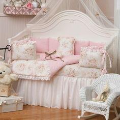 Shabby Chic Chenille Four Piece Girl Crib Bedding Set  built to grow gala crib $999 http://www.bambibaby.com/cribs/convertible-cribs?crib_type=54&p=10