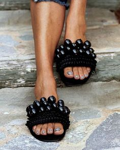 Made with shiny black pearls, handstiched on soft black suede leather, these sandals are pure magic. Looking majestic bo Boho Sandals, Leather Sandals, Suede Leather, Black Suede, Greek Sandals, Flat Sandals, Gladiator Sandals, Beach Sandals, Women Sandals