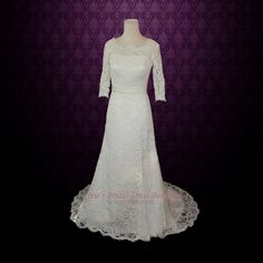 Vintage Modest Lace Wedding Dresss with Long Sleeves  Lace by ieie, $469.95
