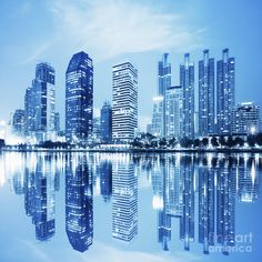 Night Scenes Of City Photograph by Setsiri Silapasuwanchai - Night Scenes Of City Fine Art Prints and Posters for Sale