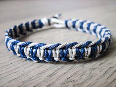 Mens Bracelet Thick Bracelet Hemp Bracelet Dark Blue by AuraHemp