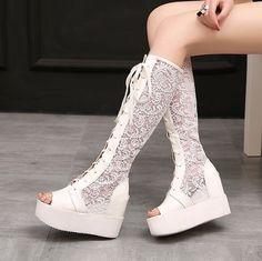 Womens Goth Peep Toe Lace up Knee high boots Sandals Hidden heel Platform Sz4-11