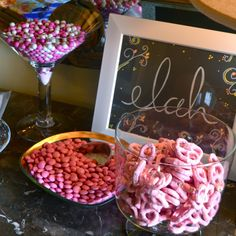 pink baby shower candy bar // the lovely bee