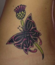Celtic butterfly and Scottish thistle tattoo.but a better thistle Back Tattoos, Body Art Tattoos, New Tattoos, Cool Tattoos, Tatoos, Tattoo Art, Scottish Thistle Tattoo, Scottish Tattoos, Fibromyalgia Tattoo