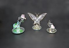 Glass Baron Hummingbirds And Butterfly, Miniature Figurines Glass Baron, Miniature Figurines, Glass Paperweights, Ginger Jars, Hummingbirds, Vintage Art, Clear Glass, Sculptures, My Etsy Shop