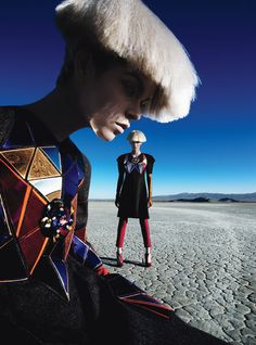 "Renowned photographer Patrick Demarchelier takes ""Baroque mad hatters and bold style soldiers"" to the Mojave desert in a sci-fi/futuristic inspired shoot for the latest issue of W-Magazine."