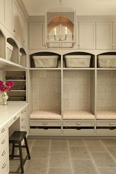 Neutral mudroom with desk.  #mudroom homechanneltv.com