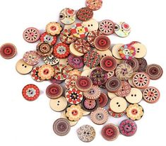 "1 1//8/"" 6 Wooden Buttons Round Poppy Fields design 30mm Sewing"