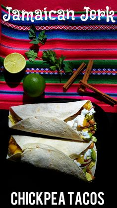 Vegetarian chickpea tacos flavoured with Jamaican jerk spices and dressed with a fresh mango and avocado salad.