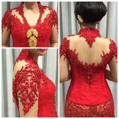 red kebaya Vera Kebaya, Kebaya Lace, Kebaya Brokat, Dress Brokat, Batik Kebaya, Kebaya Dress, Saree Dress, Indonesian Kebaya, Kebaya Wedding