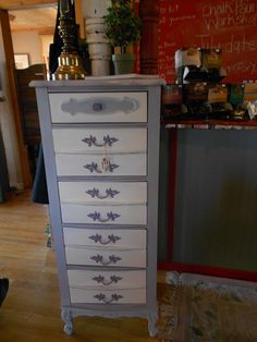 Lingerie Chest redo with Chalk Paint® by Annie Sloan. Paris Grey, Old White and Emile.  Find this at Peru Mercantile.