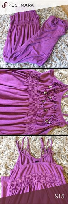 Purple sundress with beaded design at the chest Purple sundress with beaded design at the chest, only worn a few times, two straps Dresses