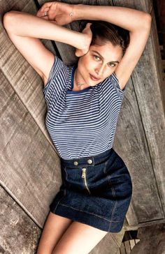 Laetitia Casta // striped tee & retro denim skirt #style #fashion