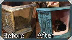 """Kayla from Whippoorwill Customs tells us about this unique Dixie Belle repurposed roadside find! """"I found this old end table on the side of the road yesterday and turned into a bed for our puppy! On the outside I used Pure Ocean and Black Glaze and the inside is Apricot"""""""
