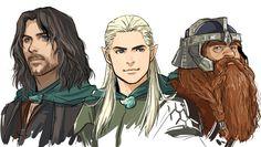 Aragorn, Legolas, Gimli