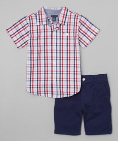 Another great find on #zulily! Tommy Hilfiger Red & Navy Plaid Button-Up & Shorts - Infant & Toddler by Tommy Hilfiger #zulilyfinds