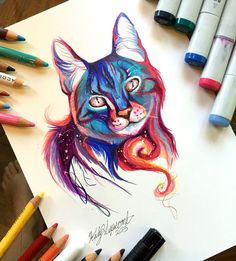 Animal Drawings WaterColor Pencil Drawings by Katy Lipscomb More - Submission to 'Marker-drawing-pencil-artist-katy-lipscomb' Cat Drawing, Painting & Drawing, Panda Drawing, Female Drawing, Drawing Ideas, Illustration Au Crayon, Copic Marker Art, Pencil Drawings Of Animals, Drawing Animals