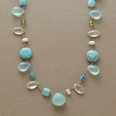 """Soothing blue-green hues in a variety of shapes and sizes, wired to lie any which way. Peruvian chalcedony, prehnite, turquoise, amazonite and cultured pearls on 14kt gold wire. Lobster clasp. Exclusive. A handmade Anne Sportun original. Approx. 16""""L."""