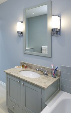 Vanity unit with marble top and matching heated mirror Vanity Units, Marble Top, Bathroom Furniture, Joinery, The Unit, Mirror, Home Decor, Homemade Home Decor, Mirrors