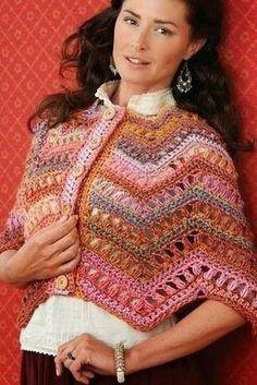 crochet un chauffe-épaule tout doux: voilà une petite chose comme je les aime, tout doux et mignon, vous trouverez toutes les explications Poncho Crochet, Mode Crochet, Crochet Top, Learn To Crochet, Crochet Clothes, Sewing Patterns, Wool, Stitch, Knitting