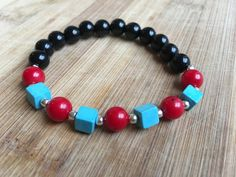 Black Tourmaline Bracelet Turquoise & Red by TurquoiseHandcrafted