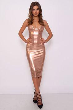Image for Rose Gold High Shine Midi Dress