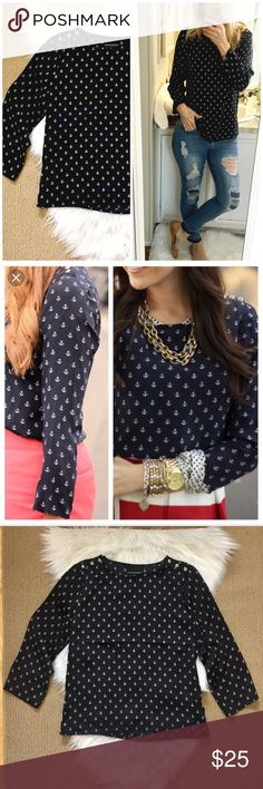 "Cynthia Rowley Anchor Blouse New without tags! Cute nautical blouse with anchor pattern. Dark navy blue (almost black) with white anchors, cutest buttons on the shoulders! ▪️Size Small ▪️18.5"" flat across bust and 23.5"" long ▪️100% polyester (no stretch.) Great condition- never worn! Cynthia Rowley Tops Blouses"