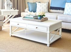 Living room ideas White Hamptons Coffee Table Keep Up with Fashion Jewelry Trends at Bargain Prices Oversized Coffee Table, Large Coffee Tables, Oak Coffee Table, Hamptons Style Decor, The Hamptons, Hamptons House, Country Coffee Table, Navy Living Rooms, Ottoman Table