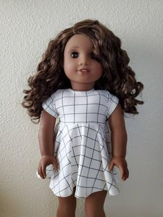 Here we have our Signature Skater dress in a quality knit with a velcro closure. Made from an original The Glam Doll pattern. Doll and shoes are not included in listing. Glam Doll, Floral Skater Dress, White Butterfly, Daughter Love, Doll Crafts, Pink Grey, Beautiful Dresses, Doll Stuff, High Neck Dress