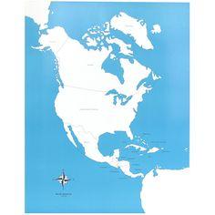 Lámina de control con el mapa de América del Norte con los nombres de los países en inglés. Este material de lametodología Montessori,es perfecto para que los niños aprendan los nombres de los diferentes países del continente norteamericano,así como la forma que tienen y la ubicación donde se encuentran. Ideal para usar junto con el puzle de madera de América del Norte, que se vende por separado. Edad recomendada: a partir de 3 años. Medidas:  Largo: 53,5 cm. Ancho: 41 cm.
